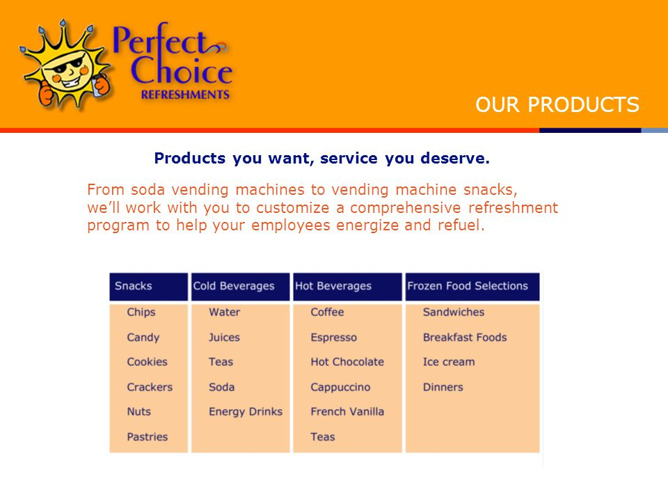 Products you want, service you deserve.