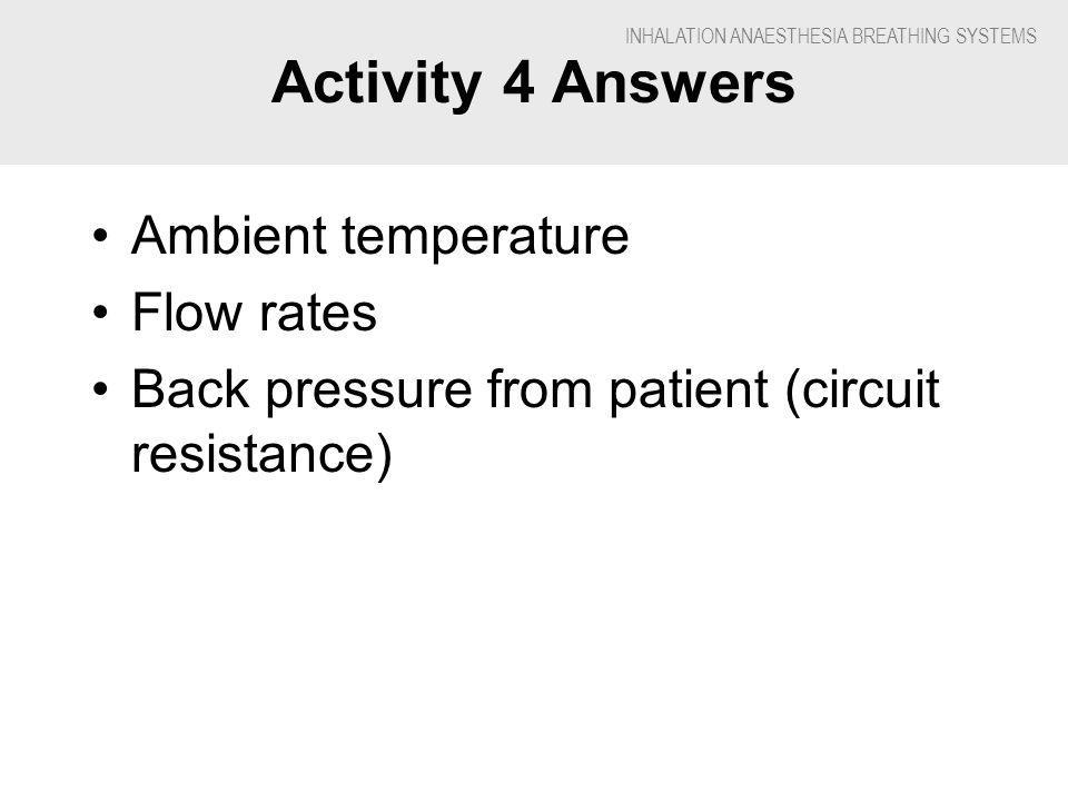 INHALATION ANAESTHESIA BREATHING SYSTEMS Activity 4 Answers Ambient temperature Flow rates Back pressure from patient (circuit resistance)