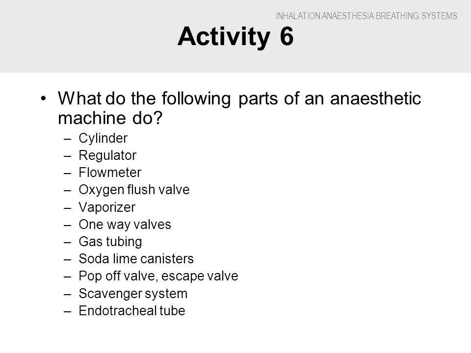 INHALATION ANAESTHESIA BREATHING SYSTEMS Activity 6 What do the following parts of an anaesthetic machine do.