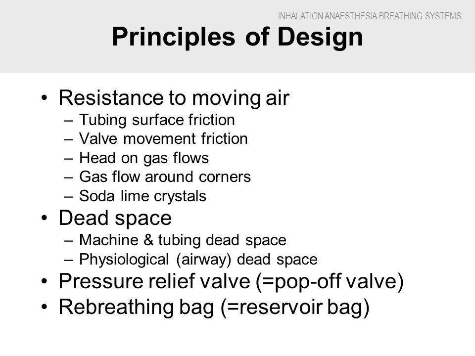 INHALATION ANAESTHESIA BREATHING SYSTEMS Principles of Design Resistance to moving air –Tubing surface friction –Valve movement friction –Head on gas flows –Gas flow around corners –Soda lime crystals Dead space –Machine & tubing dead space –Physiological (airway) dead space Pressure relief valve (=pop-off valve) Rebreathing bag (=reservoir bag)