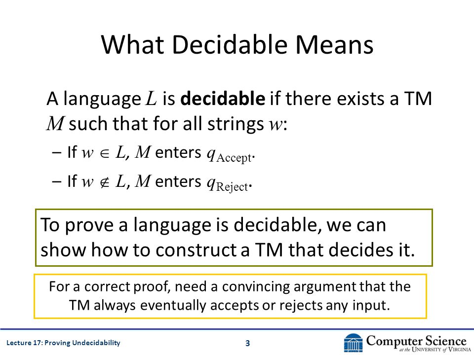 3 Lecture 17: Proving Undecidability What Decidable Means A language L is decidable if there exists a TM M such that for all strings w : –If w L, M enters q Accept.