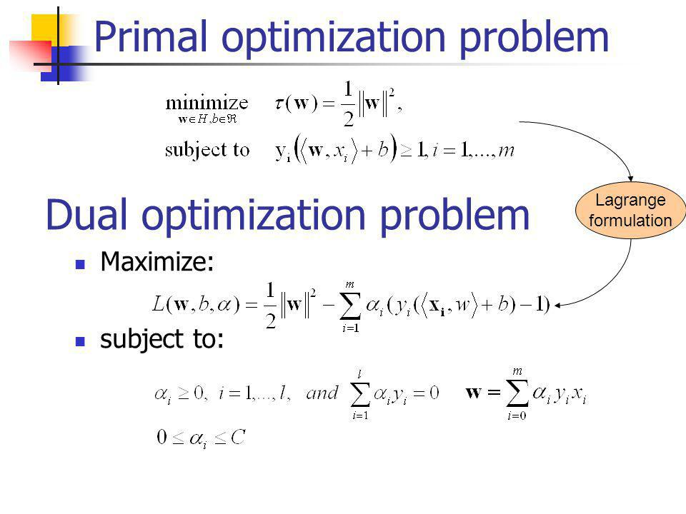 Primal optimization problem Dual optimization problem Maximize: subject to: Lagrange formulation