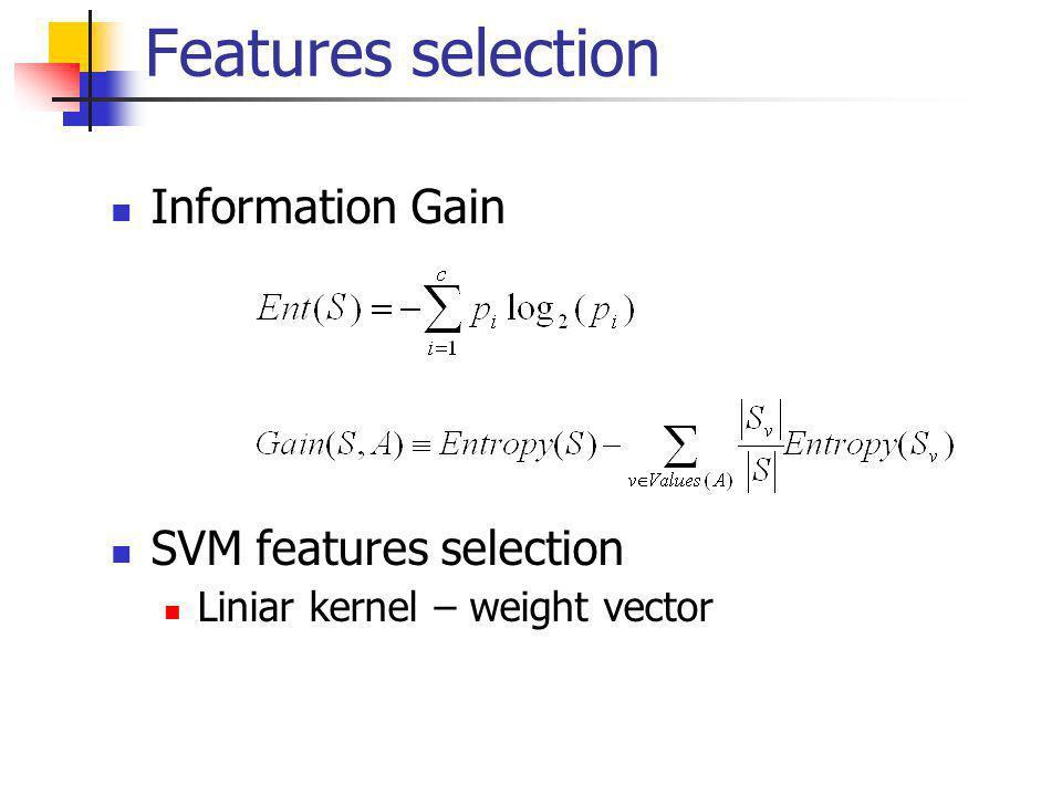 Information Gain SVM features selection Liniar kernel – weight vector Features selection