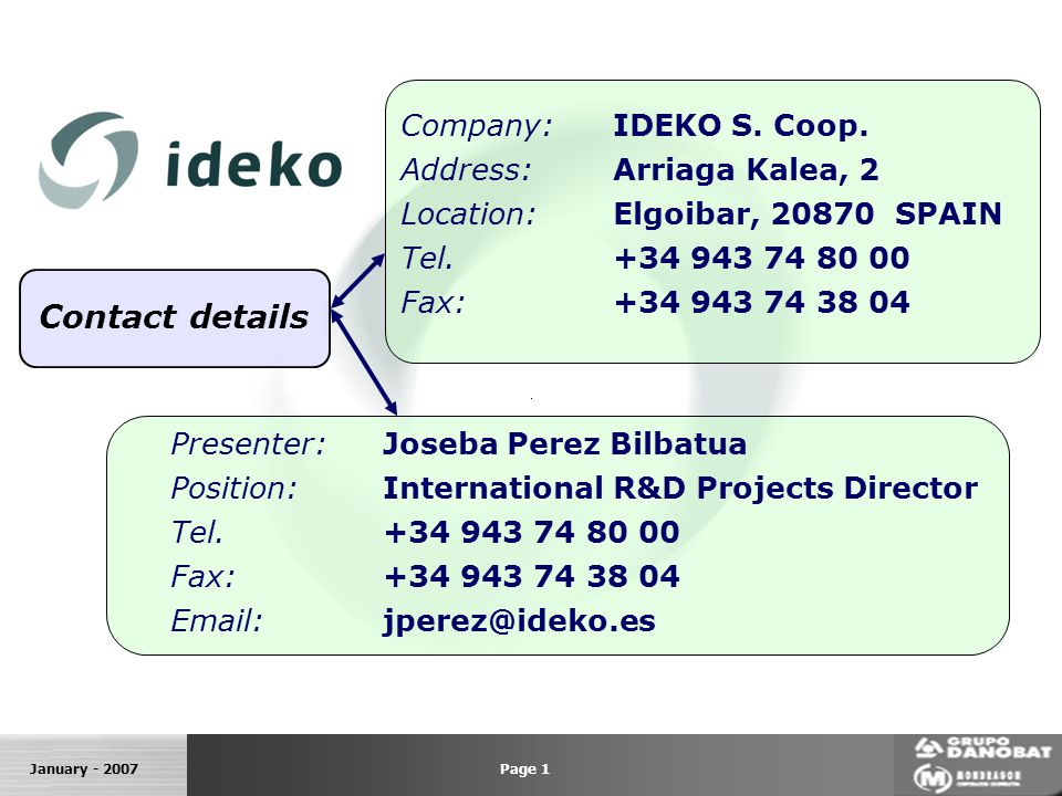 January - 2007 Contact details Company:IDEKO S. Coop.