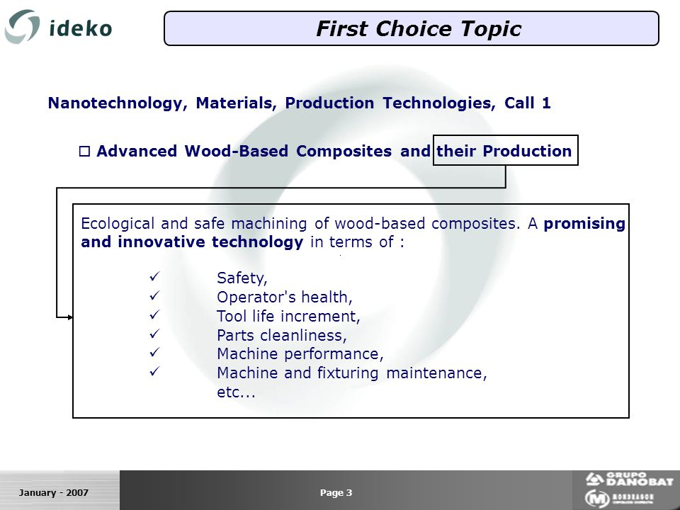 January - 2007 First Choice Topic Nanotechnology, Materials, Production Technologies, Call 1 Advanced Wood-Based Composites and their Production Ecological and safe machining of wood-based composites.