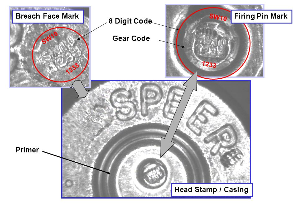 8 Digit Code SW10 1233 SW10 1233 Breach Face MarkFiring Pin Mark Gear Code Head Stamp / Casing Primer