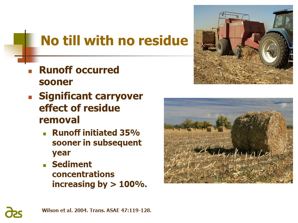 No till with no residue Runoff occurred sooner Significant carryover effect of residue removal Runoff initiated 35% sooner in subsequent year Sediment concentrations increasing by > 100%.