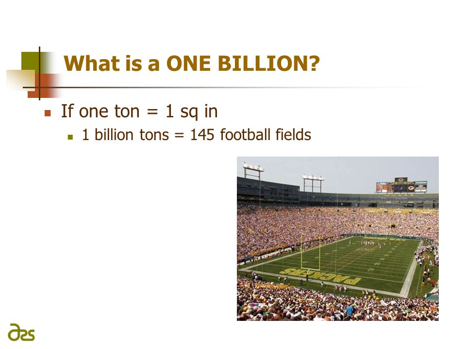 What is a ONE BILLION If one ton = 1 sq in 1 billion tons = 145 football fields