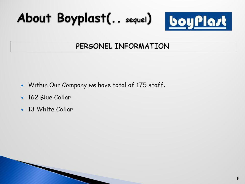 8 About Boyplast(.. sequel ) Within Our Company,we have total of 175 staff.