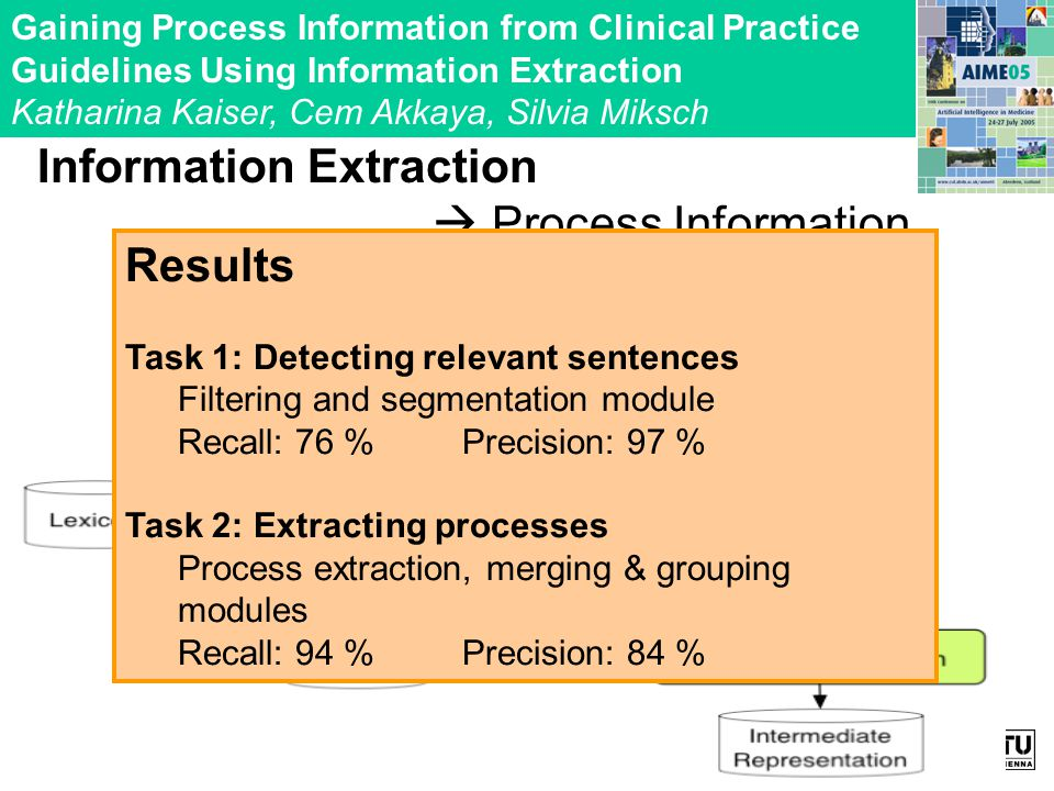 Information Extraction Process Information Gaining Process Information from Clinical Practice Guidelines Using Information Extraction Katharina Kaiser, Cem Akkaya, Silvia Miksch Results Task 1: Detecting relevant sentences Filtering and segmentation module Recall: 76 % Precision: 97 % Task 2: Extracting processes Process extraction, merging & grouping modules Recall: 94 % Precision: 84 %