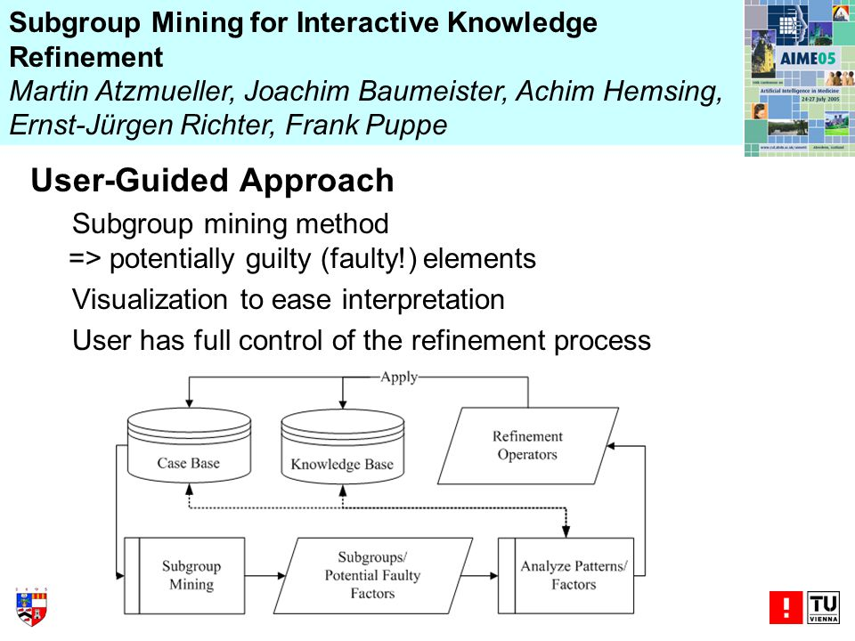 User-Guided Approach Subgroup mining method => potentially guilty (faulty!) elements Visualization to ease interpretation User has full control of the refinement process Subgroup Mining for Interactive Knowledge Refinement Martin Atzmueller, Joachim Baumeister, Achim Hemsing, Ernst-Jürgen Richter, Frank Puppe