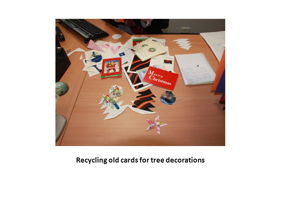 Recycling old cards for tree decorations