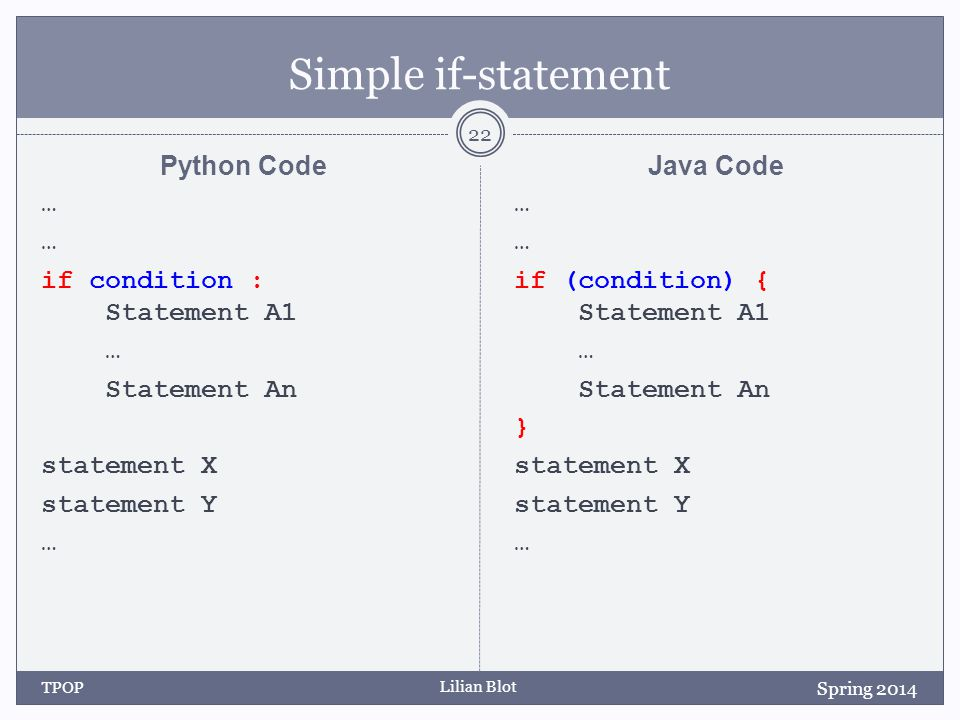 Lilian Blot Simple if-statement Python Code … if condition : Statement A1 … Statement An statement X statement Y … Java Code … if (condition) { Statement A1 … Statement An } statement X statement Y … Spring 2014 TPOP 22