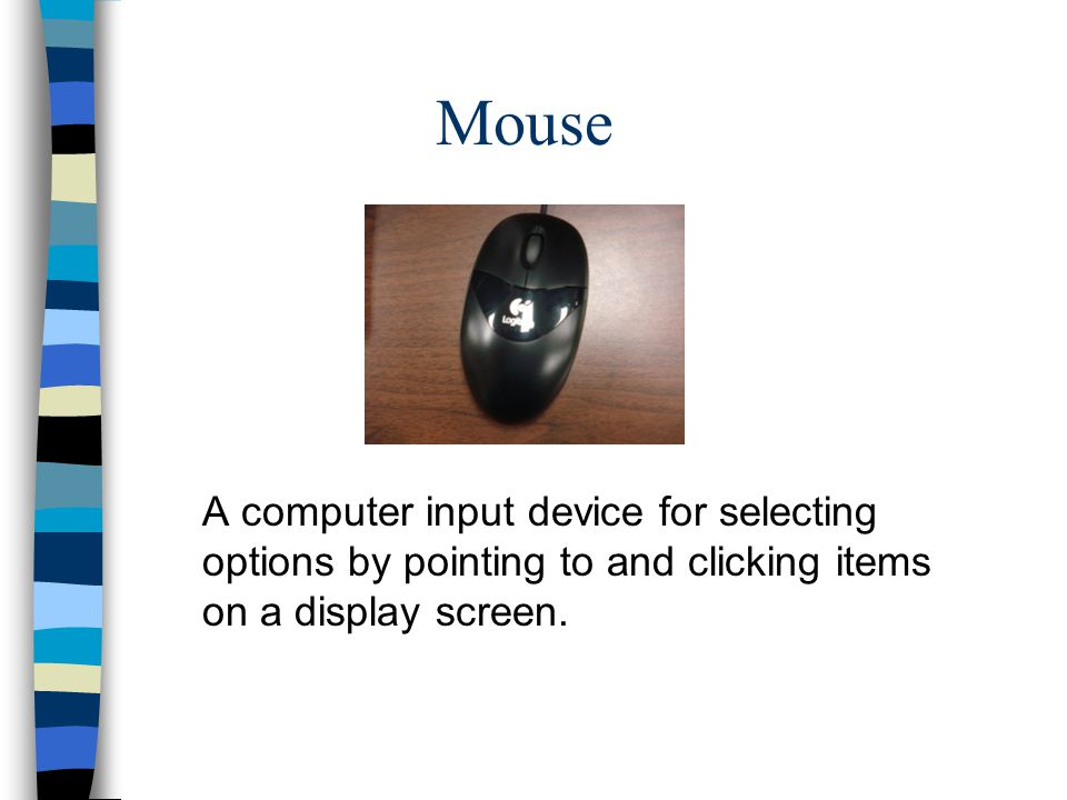 Mouse A computer input device for selecting options by pointing to and clicking items on a display screen.