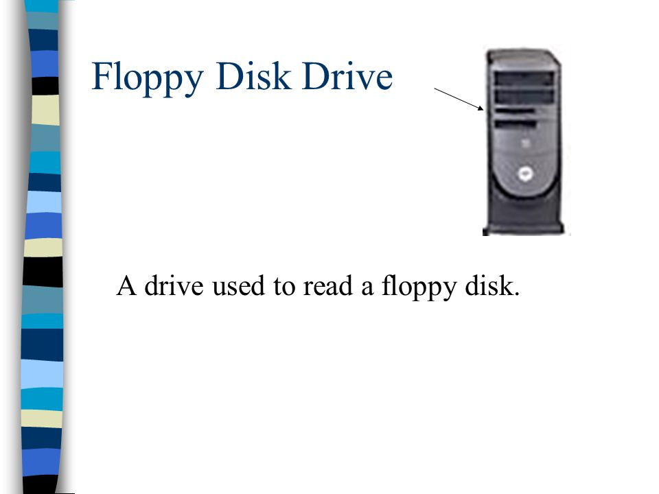 Floppy Disk Drive A drive used to read a floppy disk.