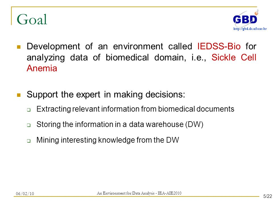 http://gbd.dc.ufscar.br Goal Development of an environment called IEDSS-Bio for analyzing data of biomedical domain, i.e., Sickle Cell Anemia Support the expert in making decisions: Extracting relevant information from biomedical documents Storing the information in a data warehouse (DW) Mining interesting knowledge from the DW 06/02/10 An Environment for Data Analysis - IEA-AIE2010 5/22