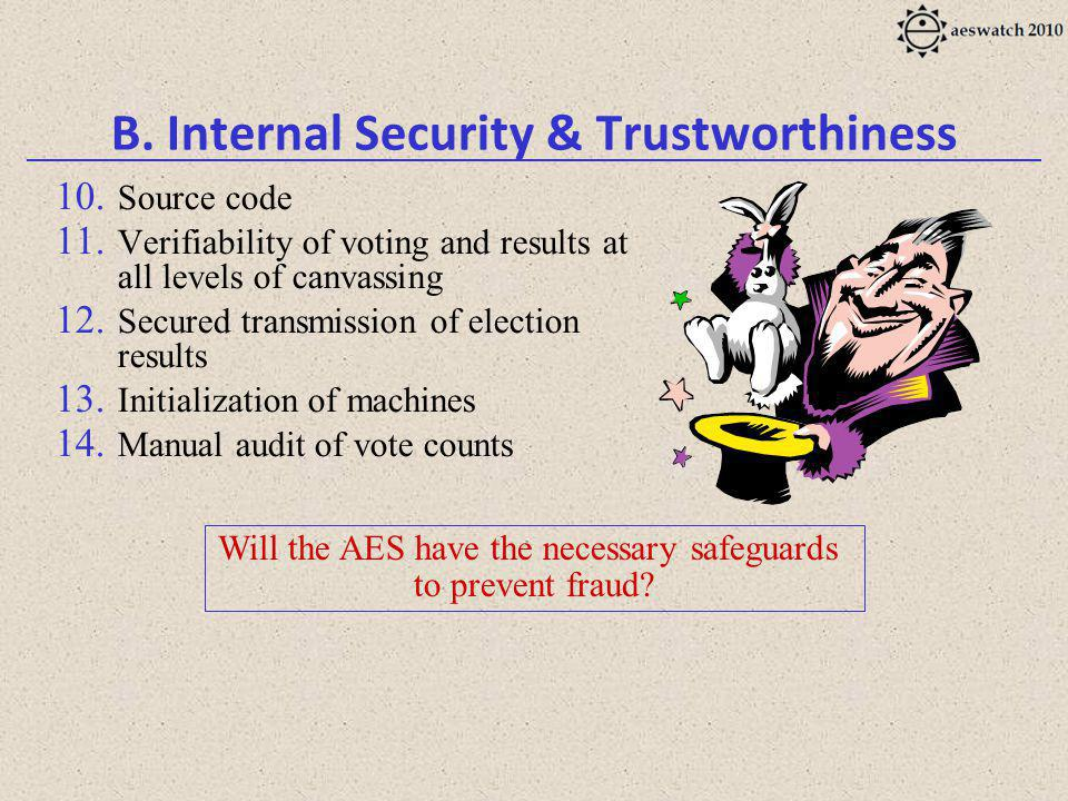 B. Internal Security & Trustworthiness 10. Source code 11.