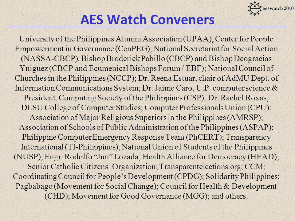 AES Watch Conveners University of the Philippines Alumni Association (UPAA); Center for People Empowerment in Governance (CenPEG); National Secretariat for Social Action (NASSA-CBCP), Bishop Broderick Pabillo (CBCP) and Bishop Deogracias Yniguez (CBCP and Ecumenical Bishops Forum / EBF); National Council of Churches in the Philippines (NCCP); Dr.
