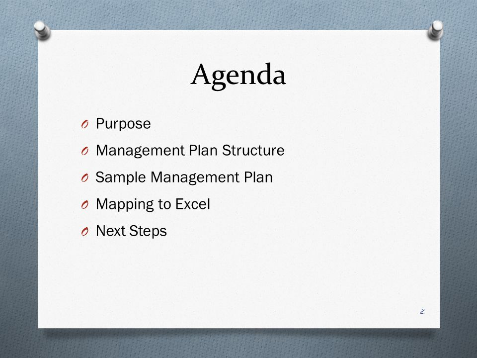 Agenda O Purpose O Management Plan Structure O Sample Management Plan O Mapping to Excel O Next Steps 2