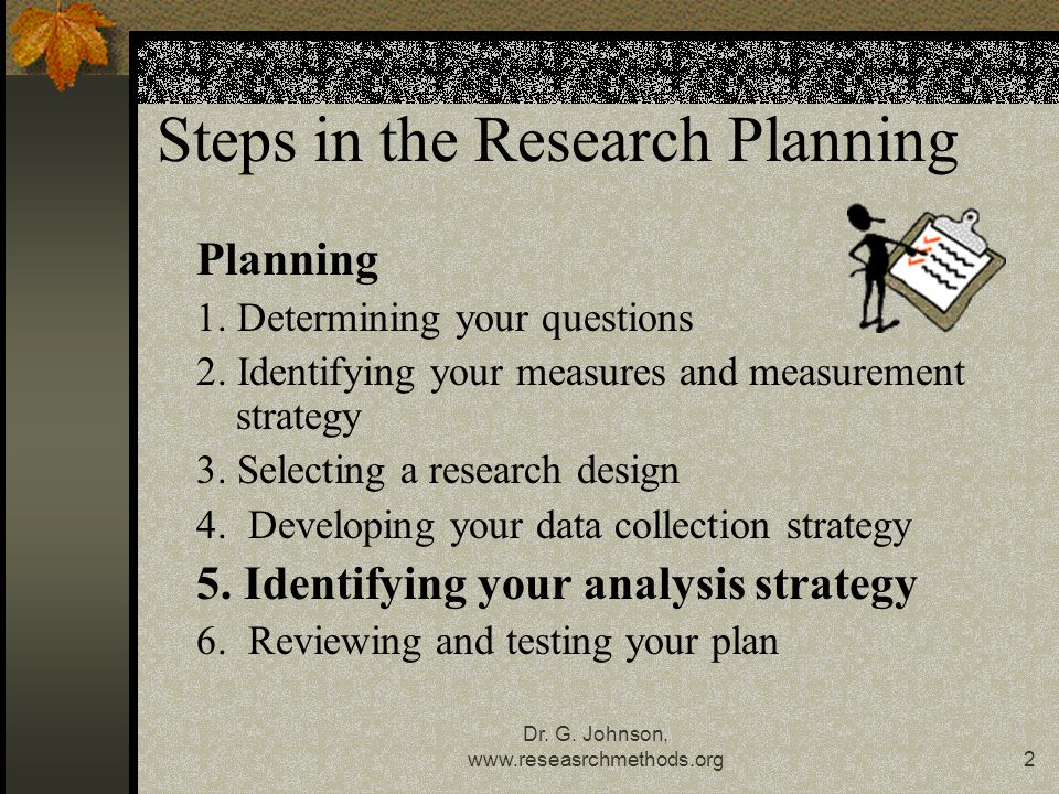 Dr. G. Johnson, www.reseasrchmethods.org2 Steps in the Research Planning Planning 1.