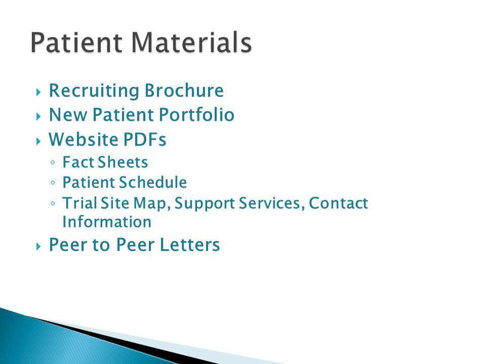 Recruiting Brochure New Patient Portfolio Website PDFs Fact Sheets Patient Schedule Trial Site Map, Support Services, Contact Information Peer to Peer Letters