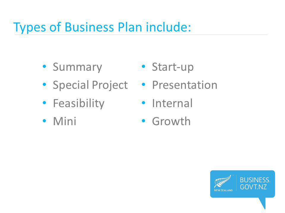 Types of Business Plan include: Summary Special Project Feasibility Mini Start-up Presentation Internal Growth
