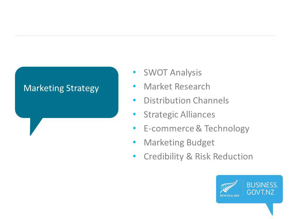 Marketing Strategy SWOT Analysis Market Research Distribution Channels Strategic Alliances E-commerce & Technology Marketing Budget Credibility & Risk Reduction