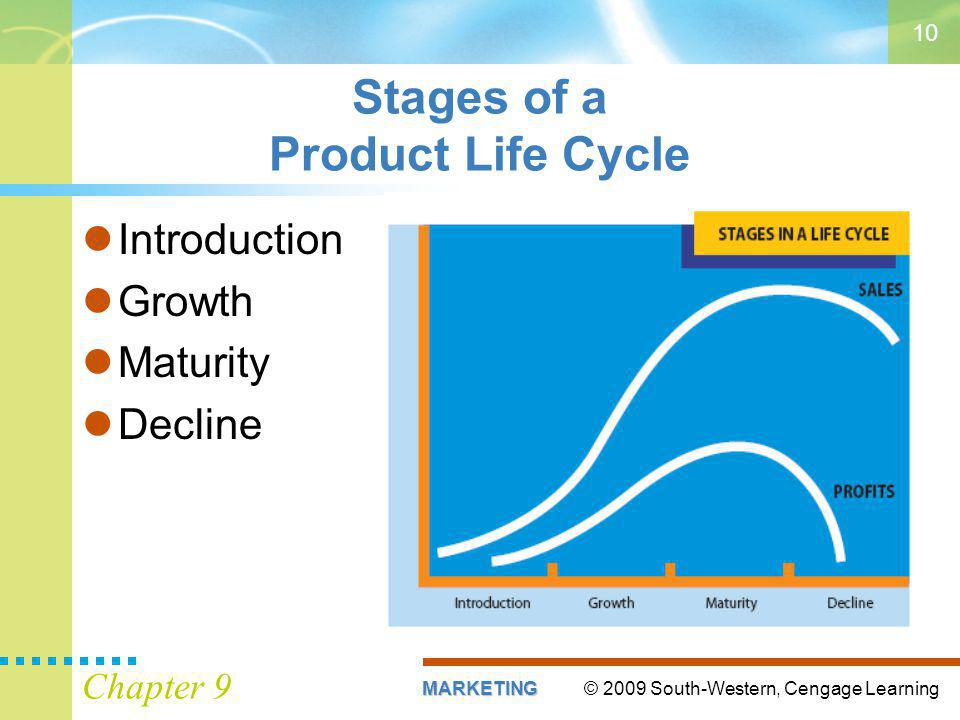 © 2009 South-Western, Cengage LearningMARKETING Chapter 9 10 Stages of a Product Life Cycle Introduction Growth Maturity Decline