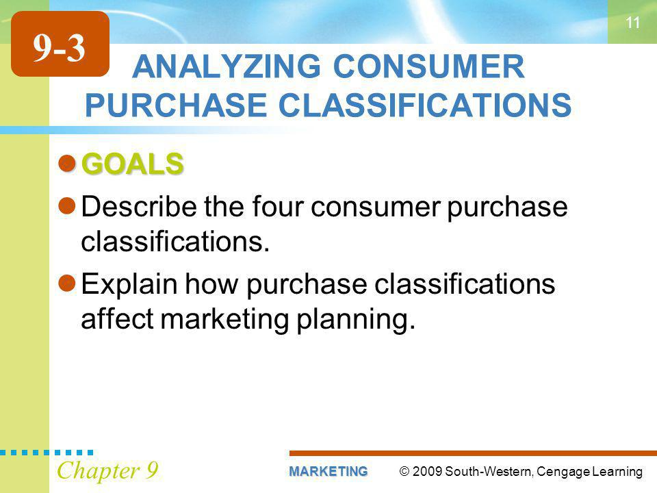 © 2009 South-Western, Cengage LearningMARKETING Chapter 9 11 ANALYZING CONSUMER PURCHASE CLASSIFICATIONS GOALS GOALS Describe the four consumer purchase classifications.