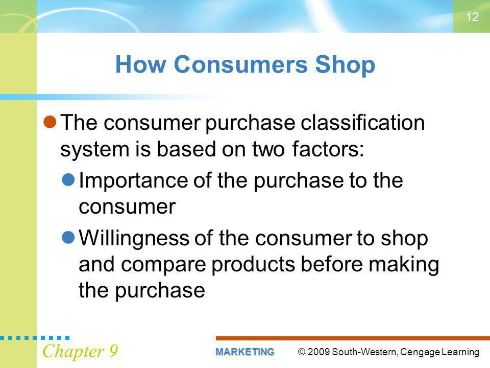 © 2009 South-Western, Cengage LearningMARKETING Chapter 9 12 The consumer purchase classification system is based on two factors: Importance of the purchase to the consumer Willingness of the consumer to shop and compare products before making the purchase How Consumers Shop