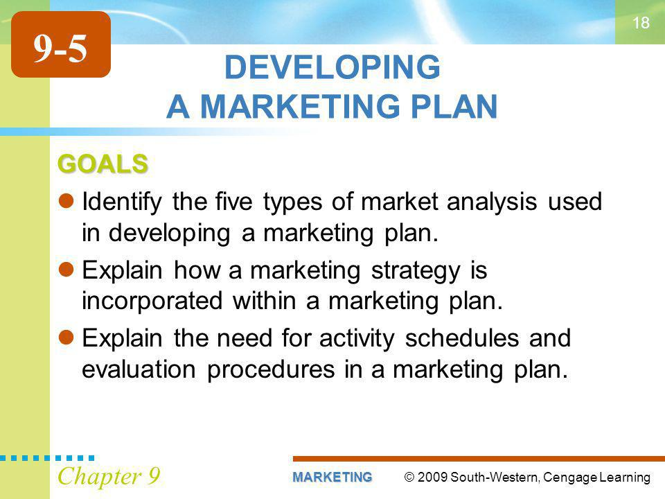© 2009 South-Western, Cengage LearningMARKETING Chapter 9 18 DEVELOPING A MARKETING PLAN GOALS Identify the five types of market analysis used in developing a marketing plan.