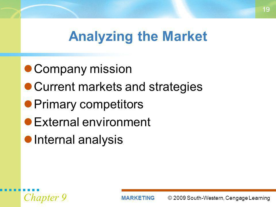 © 2009 South-Western, Cengage LearningMARKETING Chapter 9 19 Analyzing the Market Company mission Current markets and strategies Primary competitors External environment Internal analysis