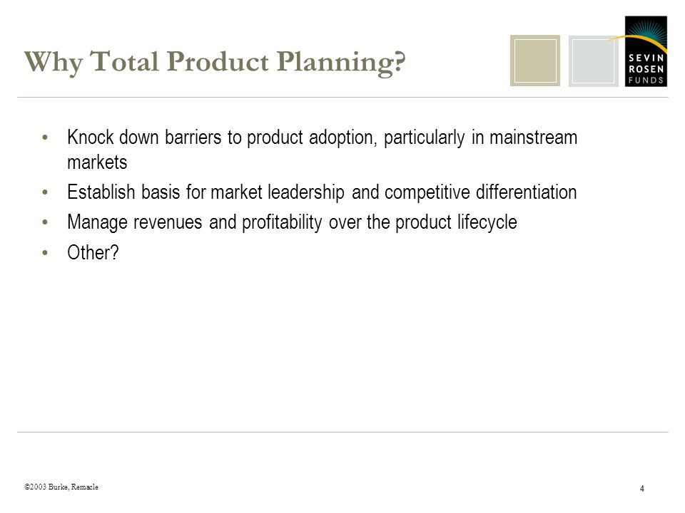 ©2003 Burke, Remacle 4 Why Total Product Planning.