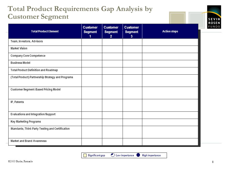 ©2003 Burke, Remacle 8 Total Product Requirements Gap Analysis by Customer Segment Total Product ElementAction steps Team, Investors, Advisors Market Vision Company Core Competence Business Model Total Product Definition and Roadmap (Total Product) Partnership Strategy and Programs Customer Segment-Based Pricing Model IP, Patents Evaluations and Integration/Support Key Marketing Programs Standards, Third-Party Testing and Certification Market and Brand Awareness Significant gapLow importance High importance Customer Segment 1 Customer Segment 2 Customer Segment 3