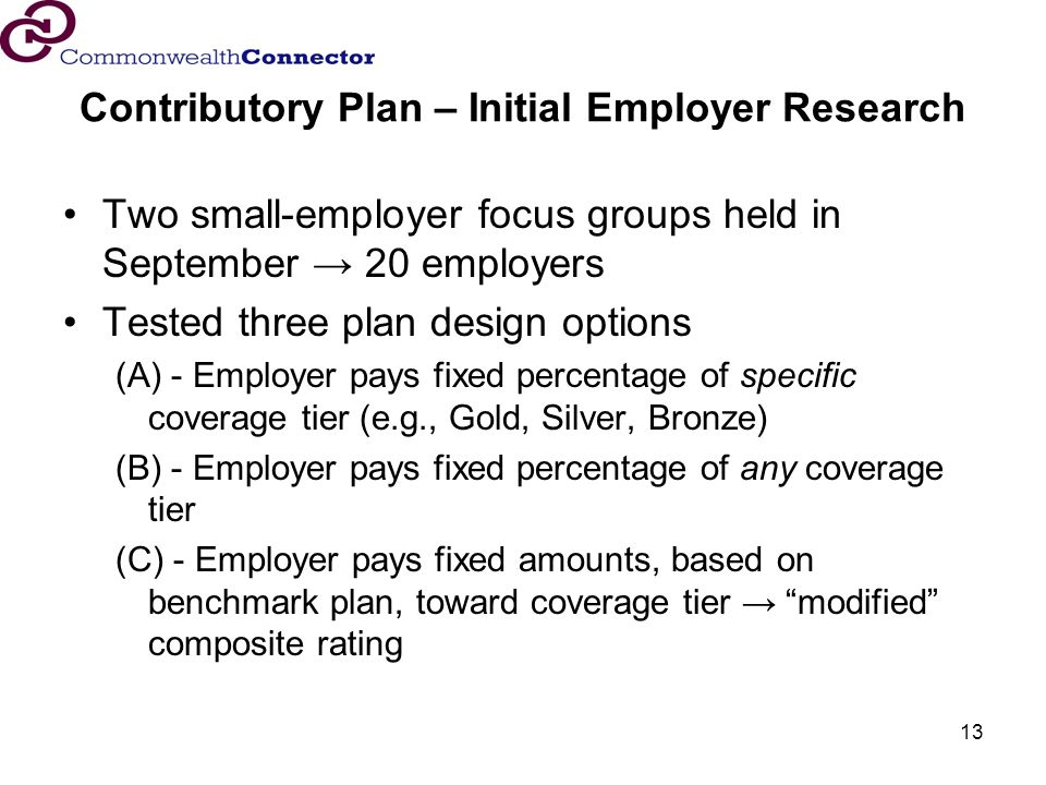 13 Contributory Plan – Initial Employer Research Two small-employer focus groups held in September 20 employers Tested three plan design options (A) - Employer pays fixed percentage of specific coverage tier (e.g., Gold, Silver, Bronze) (B) - Employer pays fixed percentage of any coverage tier (C) - Employer pays fixed amounts, based on benchmark plan, toward coverage tier modified composite rating