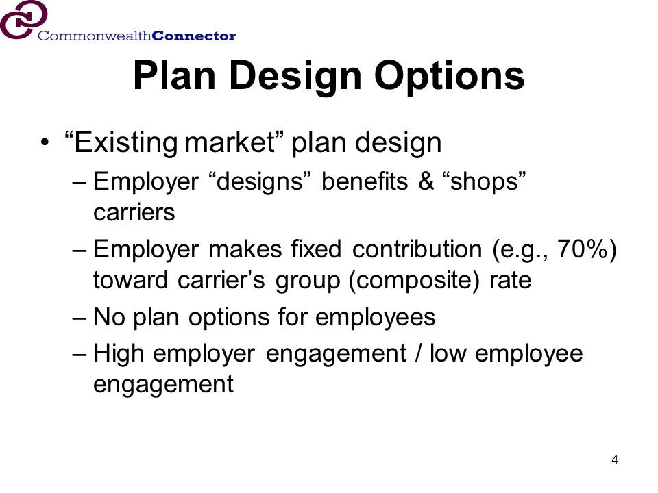 4 Plan Design Options Existing market plan design –Employer designs benefits & shops carriers –Employer makes fixed contribution (e.g., 70%) toward carriers group (composite) rate –No plan options for employees –High employer engagement / low employee engagement