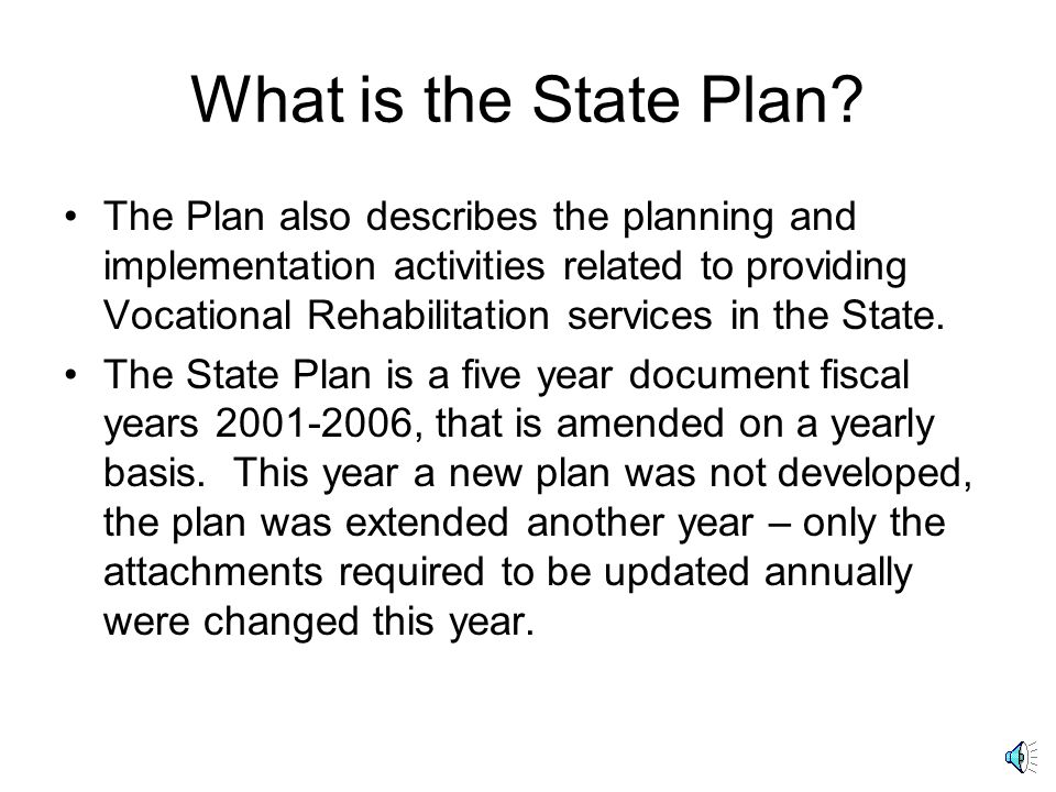 What is the State Plan.