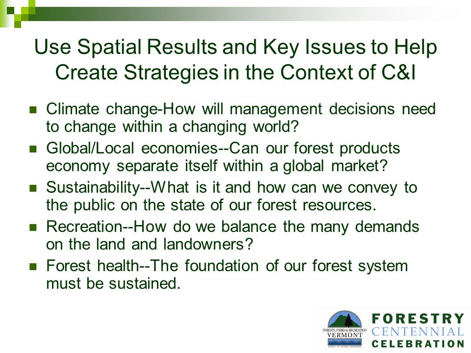 Use Spatial Results and Key Issues to Help Create Strategies in the Context of C&I Climate change-How will management decisions need to change within a changing world.