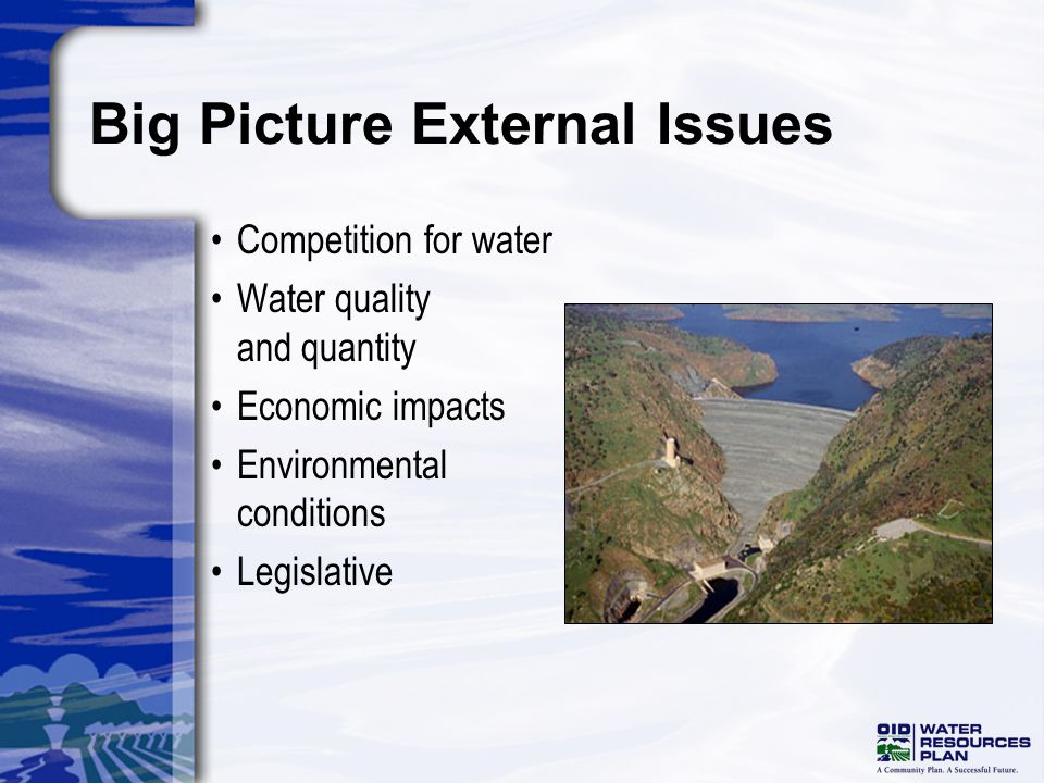 Big Picture External Issues Competition for water Water quality and quantity Economic impacts Environmental conditions Legislative