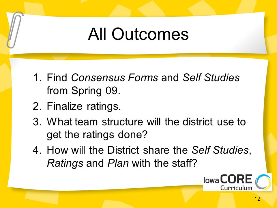 All Outcomes 1.Find Consensus Forms and Self Studies from Spring 09.
