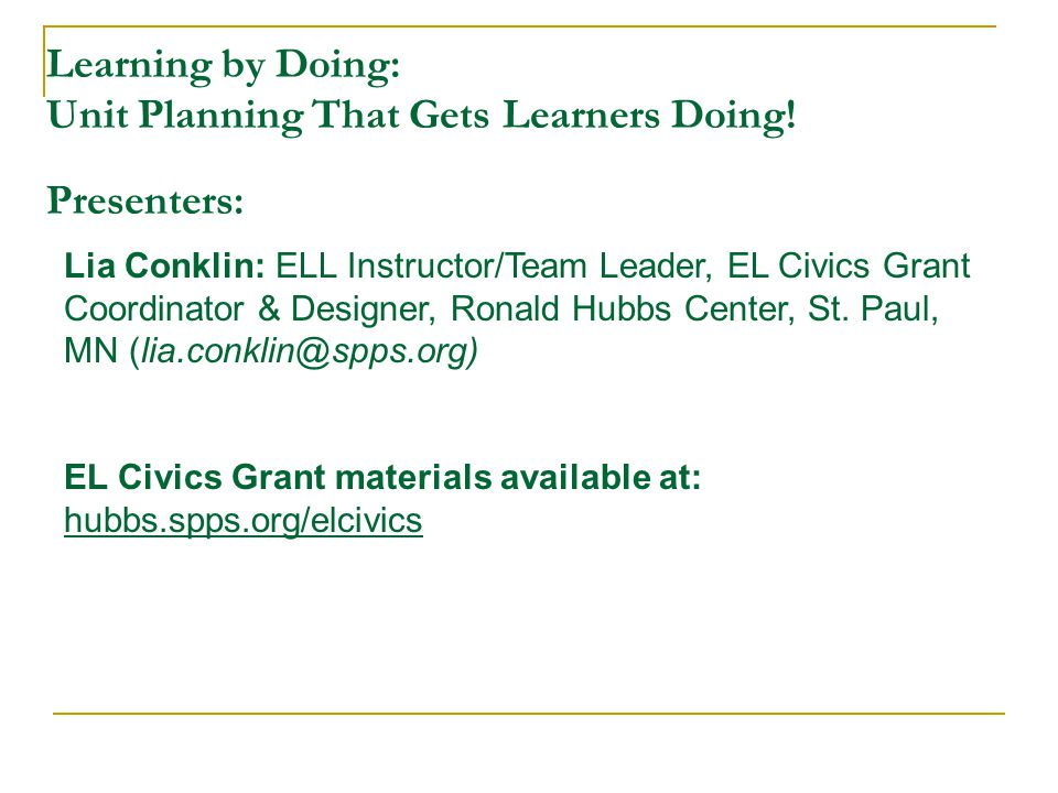 Learning by Doing: Unit Planning That Gets Learners Doing.