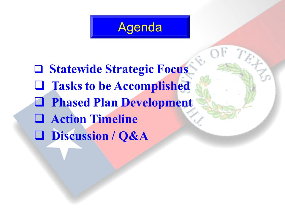 10 q Statewide Strategic Focus q Tasks to be Accomplished q Phased Plan Development q Action Timeline q Discussion / Q&A Agenda