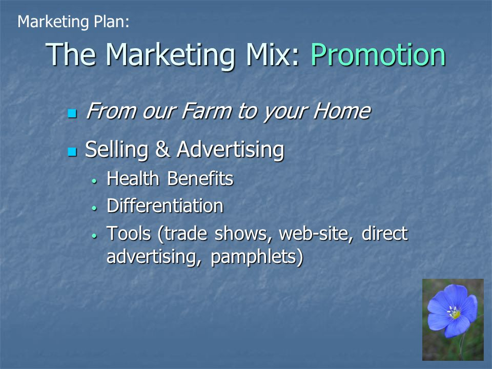 The Marketing Mix: Promotion From our Farm to your Home From our Farm to your Home Selling & Advertising Selling & Advertising Health Benefits Health Benefits Differentiation Differentiation Tools (trade shows, web-site, direct advertising, pamphlets) Tools (trade shows, web-site, direct advertising, pamphlets) Marketing Plan: