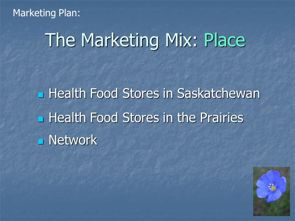 The Marketing Mix: Place Health Food Stores in Saskatchewan Health Food Stores in Saskatchewan Health Food Stores in the Prairies Health Food Stores in the Prairies Network Network Marketing Plan:
