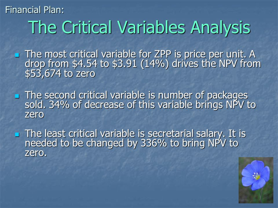 The Critical Variables Analysis The most critical variable for ZPP is price per unit.