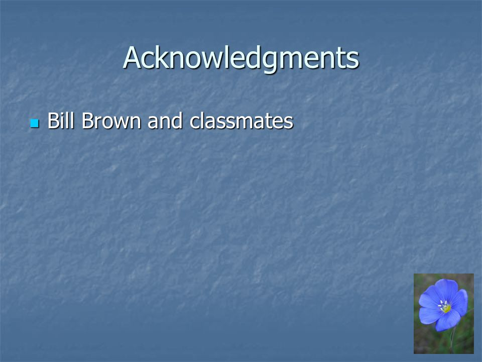 Acknowledgments Bill Brown and classmates Bill Brown and classmates