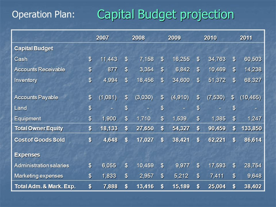 Capital Budget projection 20072008200920102011 Capital Budget Cash $ 11,443 $ 11,443 $ 7,158 $ 7,158 $ 16,255 $ 16,255 $ 34,763 $ 34,763 $ 60,503 $ 60,503 Accounts Receivable $ 877 $ 877 $ 3,354 $ 3,354 $ 6,842 $ 6,842 $ 10,469 $ 10,469 $ 14,238 $ 14,238 Inventory $ 4,994 $ 4,994 $ 18,456 $ 18,456 $ 34,600 $ 34,600 $ 51,372 $ 51,372 $ 68,327 $ 68,327 Accounts Payable $ (1,081) $ (1,081) $ (3,030) $ (3,030) $ (4,910) $ (4,910) $ (7,530) $ (7,530) $ (10,465) Land $ - $ - Equipment $ 1,900 $ 1,900 $ 1,710 $ 1,710 $ 1,539 $ 1,539 $ 1,385 $ 1,385 $ 1,247 $ 1,247 Total Owner Equity $ 18,133 $ 18,133 $ 27,650 $ 27,650 $ 54,327 $ 54,327 $ 90,459 $ 90,459 $ 133,850 $ 133,850 Cost of Goods Sold $ 4,648 $ 4,648 $ 17,027 $ 17,027 $ 38,421 $ 38,421 $ 62,221 $ 62,221 $ 86,614 $ 86,614 Expenses Administration salaries $ 6,055 $ 6,055 $ 10,459 $ 10,459 $ 9,977 $ 9,977 $ 17,593 $ 17,593 $ 28,754 $ 28,754 Marketing expenses $ 1,833 $ 1,833 $ 2,957 $ 2,957 $ 5,212 $ 5,212 $ 7,411 $ 7,411 $ 9,648 $ 9,648 Total Adm.