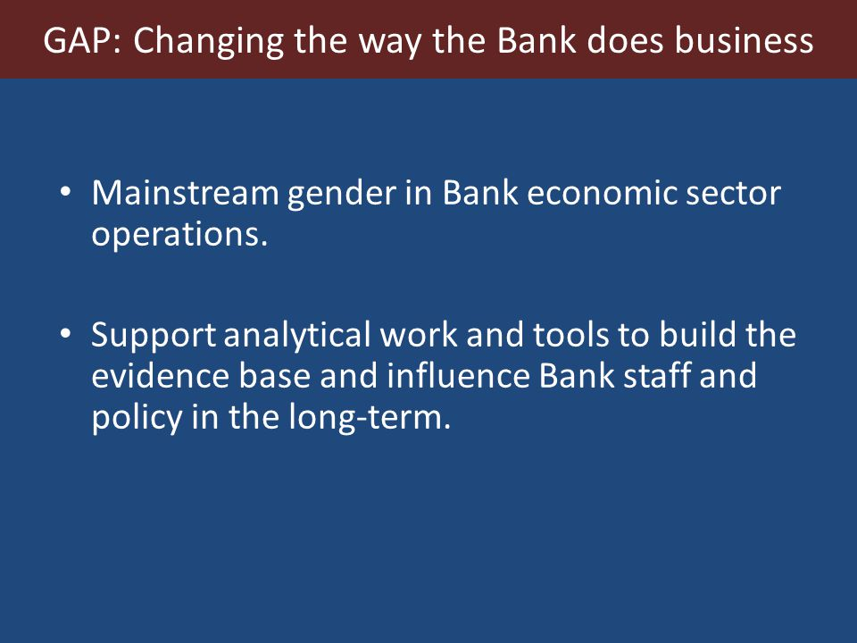 Mainstream gender in Bank economic sector operations.