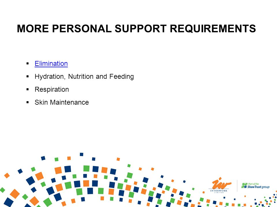 Elimination Hydration, Nutrition and Feeding Respiration Skin Maintenance MORE PERSONAL SUPPORT REQUIREMENTS