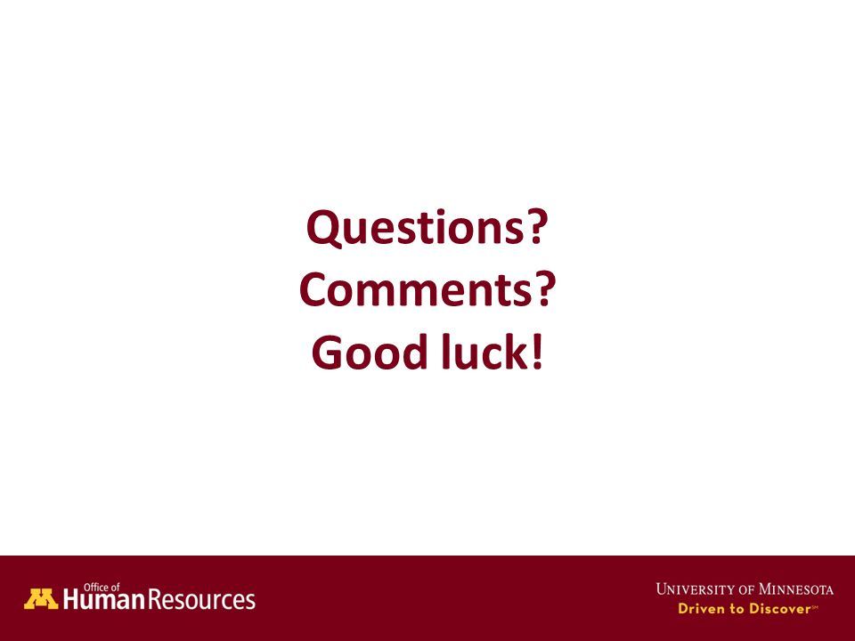 Human Resources Office of Questions Comments Good luck!